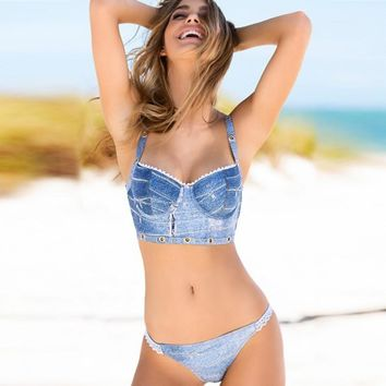 Denim Blue Bikini Set for ladies
