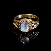 Moonstone brass ring, pretty gold ring, moon stone, gemstone ring, indian style, midi knuckle stacking ring, bohemian jewellery, BR12M