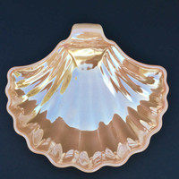 Mid-Century Peach Lusterware Shell Dish Carnival Glass Hospitality Gift Wedding Gift Housewarming Gift