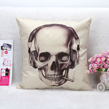 Vintage Printed Pillow Case Halloween Skull Headphones Cushion Cotton Linen Cover Square 45X45CM