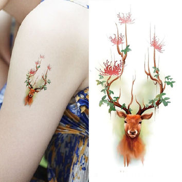 Cute Waterproof Tattoo Sticker Deer Pattern Temporary Tattoo Stickers Body Art