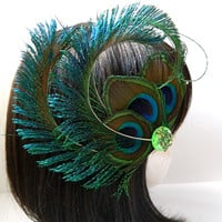 Peacock feather fascinator - RENA design of feather eyes and Sword feathers - CHOOSE headband, comb, or hair clip - Customizable Color