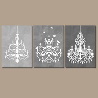 CHANDELIER Wall Art Canvas or Prints Gray Watercolor Wall Art Ombre Bathroom Decor,  Bedroom Decor Bathroom Picture Set of 3 Nursery Decor