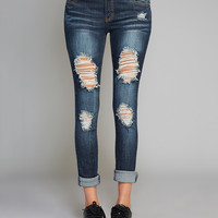 Blue Asphalt™ Roll Cuff Skinny Jeans | Wet Seal