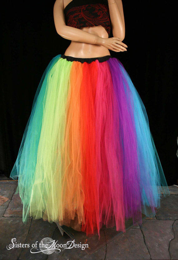tutu skirt Rainbow Streamer floor length  formal adult --You Choose Size -- Sisters of the Moon carnival Halloween