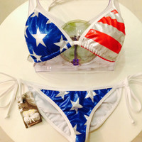 2PC. 4th. of July Bathing Suit - Pads Included