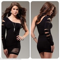 Sexy Black One Shoulder Cut Out Sleeve Slashed Ripped Laser Mini Club Hot  Dress