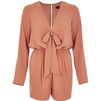 Light orange tied front playsuit