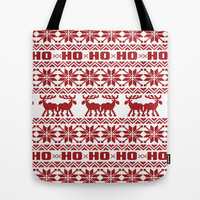 Ho Ho Ho Red Ugly Xmas Sweater Pattern Tote Bag by RexLambo