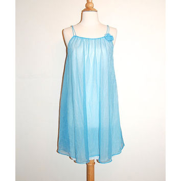 1960s Blue Negligee . 60s Blue Lingerie . Babydoll Sheer . size S M