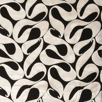 Black Ivory Velvet Fabric -  Contemporary Upholstery Fabric by the Yard - Abstract Black Fabric
