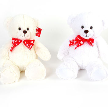 hearty pal with printed satin ribbon plush teddy bear Case of 12