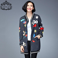 Plus Size Womens Winter Bomber Jacket and Coats Kawaii Pattern Printing Sweatshirt Cotton Loose Fashion Casual Lady Outerwear