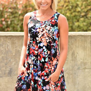 Blooming Meadow Dress - Black