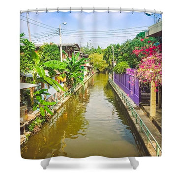 Bangkok Thailand Canals Asian Inspired Polyester Fabric Shower Curtain