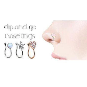 ac PEAPO2Q New crystal heart star unique fake nose ring for women fake septum piercing nose rings and studs noseclip splint body jewelry