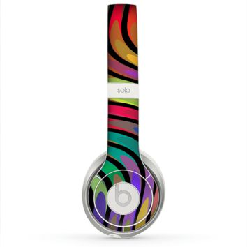 The Swirly Color Change Lines Skin for the Beats by Dre Solo 2 Headphones