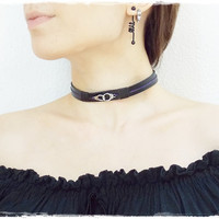 Gothic Leather Choker, BDSM Leather Collar, Gothic Black Choker, Victorian Leather Collar, Sub Leather Day Collar, Black Leather Choker,