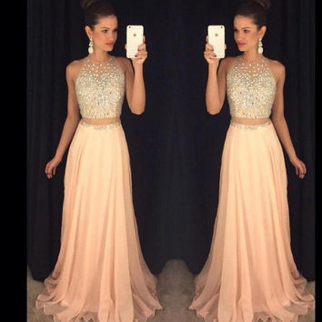 Gorgeous O Neck Two Pieces Prom Dress 2017 New A Line Long Chiffon Party Evening Gowns