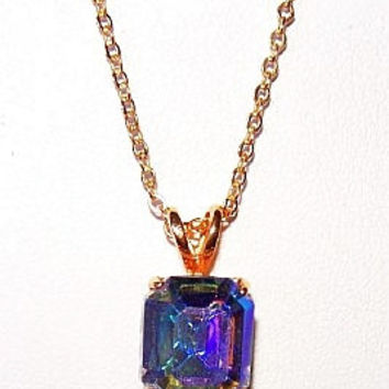 "Avon Pendant Necklace Aurora Borealis Rhinestones Gold Cable Chain Mothers Day Gift 18"" Vintage"