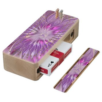 Pink Purple Flower Passion Abstract Fractal Art Wood Cribbage Board