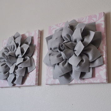 Gray and Light Pink Damask 3D Flower Wall Canvas Artwork Set of 3 Canvases WALL Decor ART Baby Nursery
