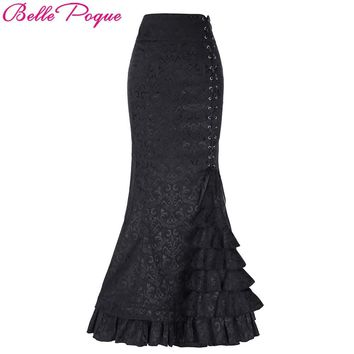 Belle Poque Women Skirts 2017 Vintage Retro Victorian Style Ruffled Jacquard Medieval Costume Fishtail Mermaid Long Maxi Skirt