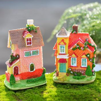 Resin Modern Colorful Mini House Building Micro Fairy Garden Figurines Miniatures/Terrarium Dollhouse Decor Ornaments Sculpture