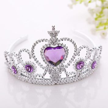 New Frozen Crown Twinkle Hair Accessories For Girls Princess Bridal Crown Crystal Diamond Tiara Hoop Headband Hair Bands
