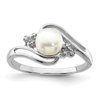 Sterling Silver 6mm Cultured Button Pearl And Diamond Ring