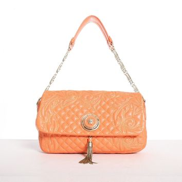 GIANNI VERSACE Vanitas orange quilted leather gold Medusa tassel shoulder bag