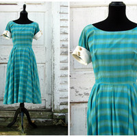 Darling Vintage 1950s 50s Swing Dress Bombshell Mad Men Women Gold Button Full Skirt Party Work Day Dress /A Darling Christmas Present
