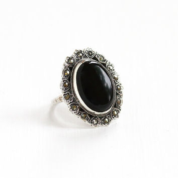 Vintage Art Deco Sterling Silver Onyx & Marcasite Ring - Size 4 1920s 1930s Statement Oval Flower Motif Cocktail Jewelry