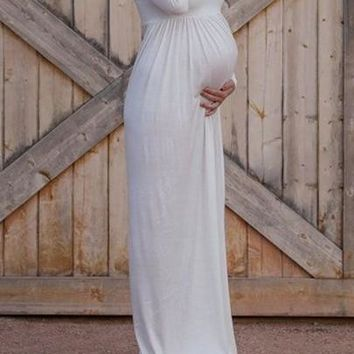 Boat Neck Off Shoulder Bandeau Pleated Floor Length Maternity Maxi Dress