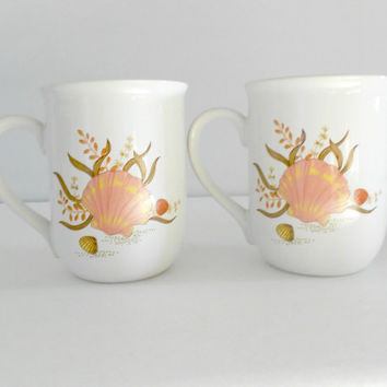 Beach Cups Sea Shell Nautical Kitchen Set of Two