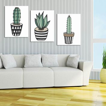 3 Panel Cactus Canvas Print Wall Art Painting