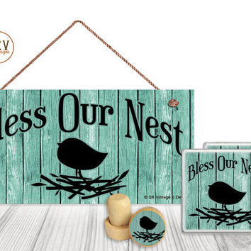 "Gift Set, 4 PC, Bless Our Nest, Bird 5"" x 10"" Wood Sign, Two Drink Coasters, One Decorative Wine Stopper, Gift Package, Made To Order"