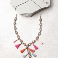 Fresh-Picked Pink Rhinestone Tassel Necklace