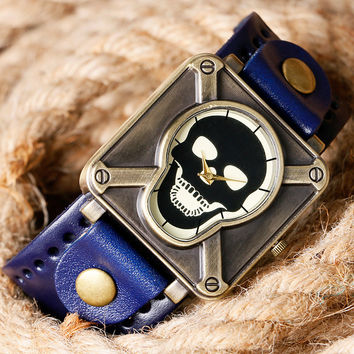 Cool Skull Face Dial Square Shape Blue Leather Band Strap Men Women Fashion Quartz Wrist Watch Gothic Style Boy Girl Gift