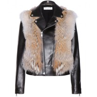 saint laurent - coyote fur and leather jacket