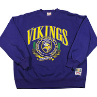 Vintage 90s Minnesota Vikings Crewneck Sweatshirt Made in USA Mens Size Large