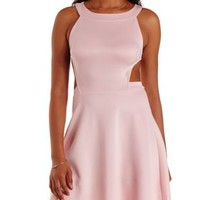 Soft Pink Cut-Out Racer Front Skater Dress by Charlotte Russe