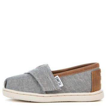 MDIGH3W Tiny Toms Classic Frost Grey Chambray Flats