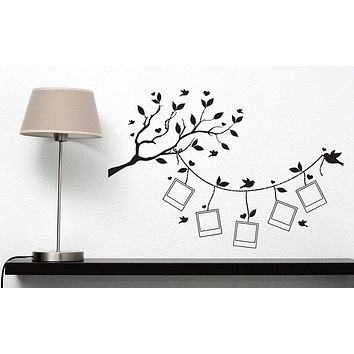 Vinyl Wall Sticker For Family Decal Tree Branch Leaves Stylized Frames For Photos Decor Unique Gift (n346)