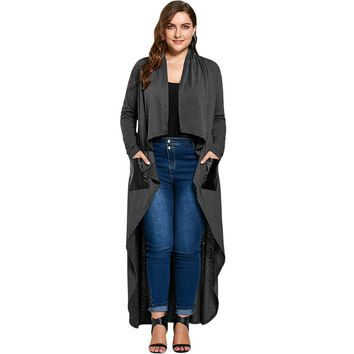 Duster jacket  X-long high low ~ Plus size
