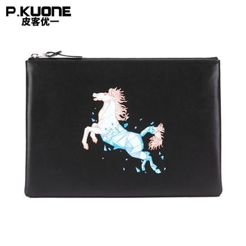 P.KUONE Brand Painted Horse Genuine Leather Men Clutch Bags Cow Leather Wallet Male Simple Design Wallet Men's Envelope Bag