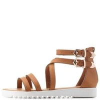 Tan Bamboo Strappy Flat Gladiator Sandals by Charlotte Russe