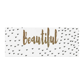 "Suzanne Carter ""Beautiful"" Gold Typography Bed Runner"