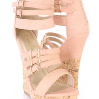 Pink Buckle Strappy Cork Wedges Faux Leather