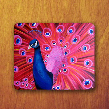 Beautiful Pink Peacock Painting Mouse Pad Printed Mousepad Mat Computer or Office Work Station Decor Personalized Custom Christmas Gift